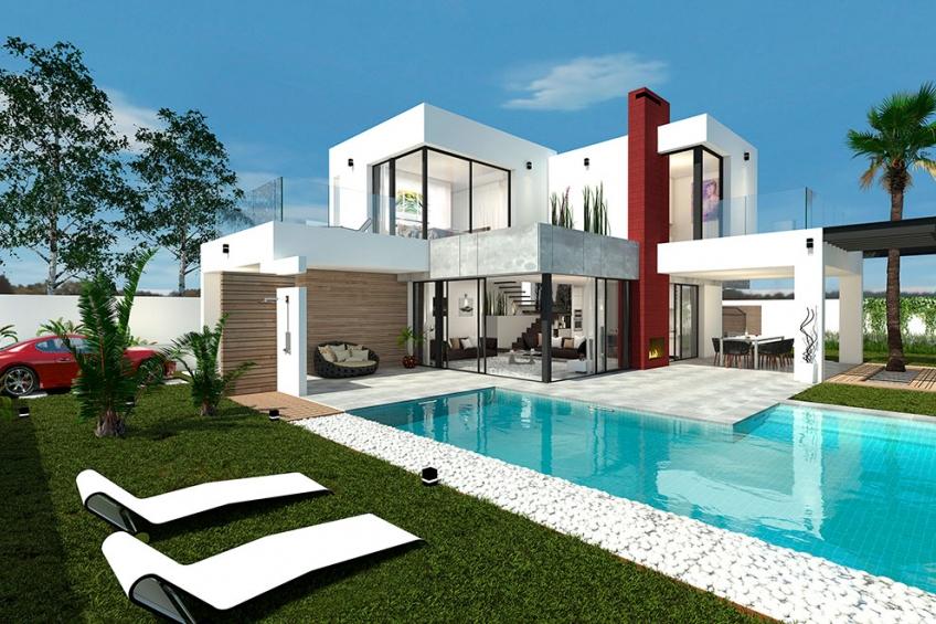 Moderne villa met privé zwembad op 200 meter van zee in Los Alcázares (  Los Alcázares Murcia Spanje )