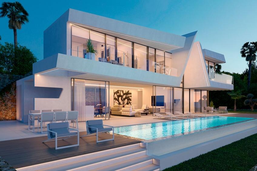 Luxe villa met privé zwembad, kelder en prachtig uitzicht op zee in Moraira (  Moraira Alicante Spanje )